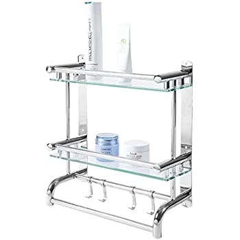 Wall Mounted Stainless Steel Bathroom Shelf Rack, 2 Tier Glass Shelves U0026 2  Towel Bars With Hooks