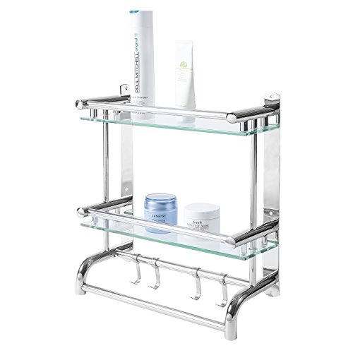 MyGift Wall Mounted Stainless Steel Bathroom Shelf Rack, 2 Tier Glass Shelves & 2 Towel Bars with Hooks
