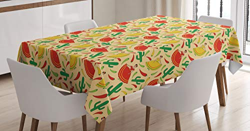 (Ambesonne Spanish Tablecloth, Dancing Mexican Women Cactus and Chili Peppers Jalapeno Latin Motif, Dining Room Kitchen Rectangular Table Cover, 52 W X 70 L Inches, Vermilion Yellow)