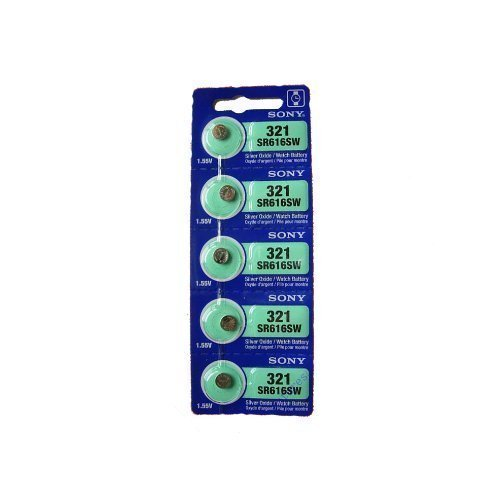 Price comparison product image Sony Silver Oxide 0%Hg Mercury Free 1.55 volts Batteries Size 321 SR616SW (Pack of 5)