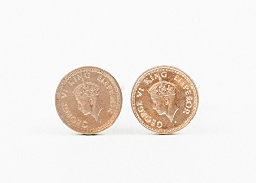 (British India Silver 1/4 Rupee Coin Cufflinks)