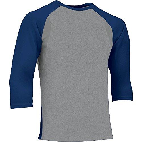 Baseball Sleeve Undershirt Adult - CHAMPRO Extra Innings 3/4 Sleeve Baseball Shirt; 2XL; Grey, Navy Sleeve; Adult Extra Innings 3/4 Sleeve Baseball T Shirt