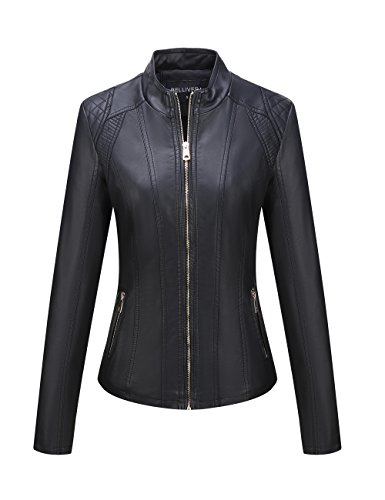 (Bellivera Women's Faux Leather Casual Short Jacket,Moto Coat with 2 Zipper Pockets for Spring and Autumn)
