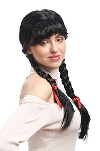 WIG ME UP ® - XR-008-P103 Peluca Mujeres Carnaval Cosplay Larga Trenzas con Cintas Trenzadas Flequillo Colegiala Lolita Negro 60 cm: Amazon.es: Juguetes y ...