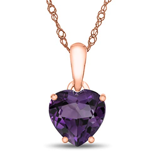 Finejewelers 10k Rose Gold 7mm Heart Shaped Amethyst Pendant Necklace