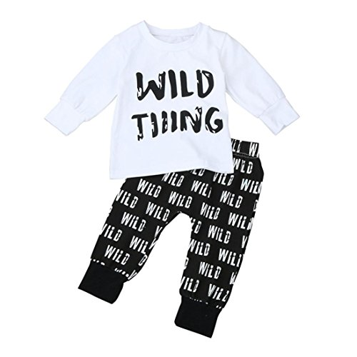 Iuhan Wild Thing Letter Print Kids Baby Boys Outfit Clothes Tops T-Shirt+Long Pants (Size:1-2 years old, White) (Thing 1 Thing 2 Outfits)