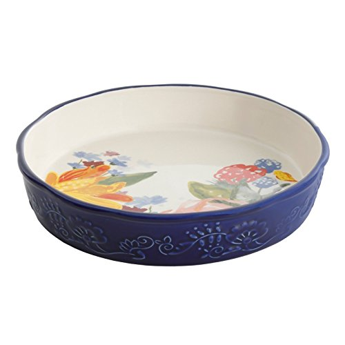 The Pioneer Woman Celia Pie Pan 9'' Blue Floral Ceramic Stoneware by Gibson (Image #1)