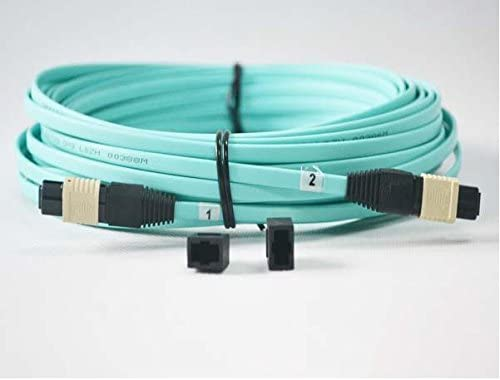 EB-LINK OM4 Fiber Optic Patch Cord Cable without Pins 6.5 ft. 12 Strand 2 meter Aqua MTP MPO-Style