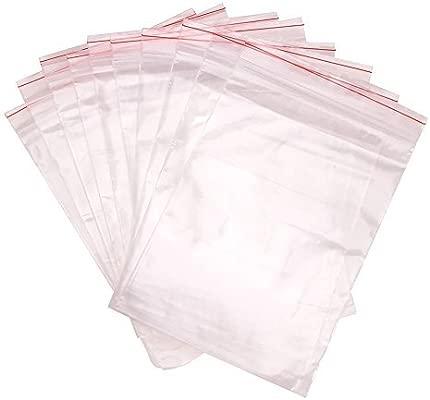 Pandahall - Lote de 100 bolsas de plástico con cierre zip, transparentes 15 x 10 cm y 0.04 mm de espesor