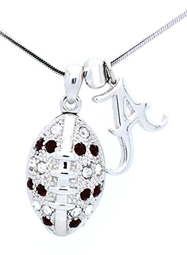 Alabama Football Necklace - Large Size - Crimson and Clear Crystal - ROLL (Crystal Clear Football)