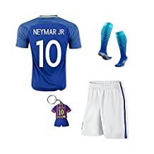 Soccer Kids 2016/2017 Brazil #10 Neymar Jr Away Jersey Football Soccer Kit Kids Sportwear & Shorts & Socks &Key Chain &Face Cloth 3-12 YRS (7-8 years)