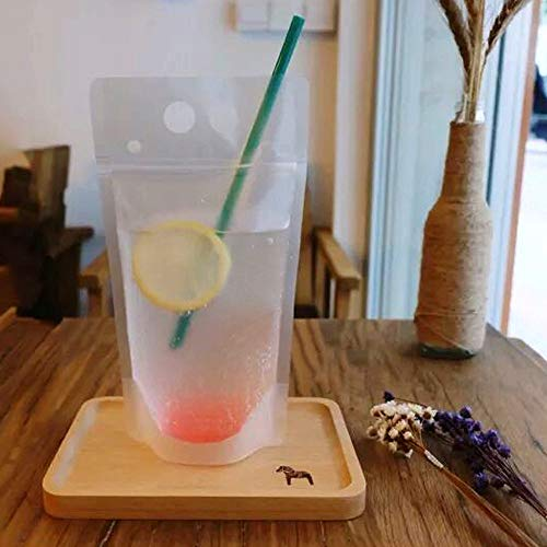 TOMNK 100pcs Clear Drink Pouches Bags Smoothie Bags Reclosable Zipper Heavy Duty Hand-held Translucent Stand-up Plastic Pouches Bags Drinking Bags 2.4'' Bottom Gusset with 100pcs Straws by TOMNK (Image #5)