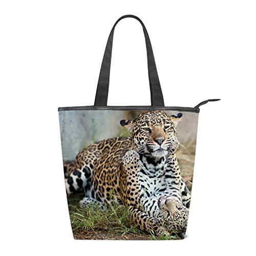 Women's Canvas Shoulder Tote Handbag, Leopard Cub Kitten Motherhood Cats Travel Handbags for Shopper, Daily Purse Tote Bag