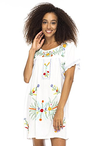 Big And Tall Embroidered Shorts - Back From Bali Mexico Embroidered Short Dress White S/M