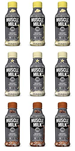 Muscle Milk Pro Series Non Dairy Protein Shake, 3 Flavor Variety Pack, 40g Protein, 14 FL OZ Pack of 9