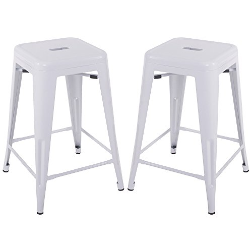Metal Counter Bar Stool (Merax 24'' Metal Counter Barstools with Square Seat for Indoor/Outdoor Set of 2 (White))