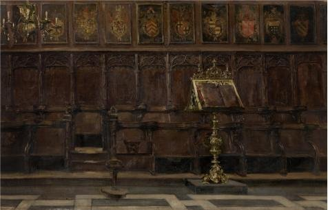 ['Emile Vloors - Choir Stalls In The Salvator Church In Bruges' Oil Painting, 12x19 Inch / 30x47 Cm ,printed On Perfect Effect Canvas ,this Vivid Art Decorative Canvas Prints Is Perfectly Suitalbe For Powder Room Gallery Art And Home Gallery Art And] (Church Choir Costumes)
