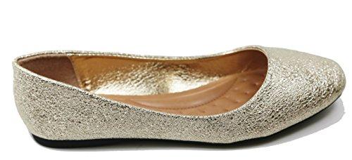 Walstar Kvinners Ballerina Ballet Flat Sko Faststoffer Og Glitter Skimmer Glitter-gull
