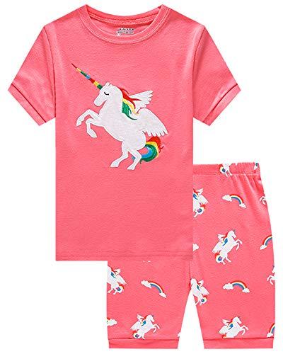 KikizYe Big Girls Unicorn Pajamas Short Sets 100% Cotton Kid Summer Pjs 10]()