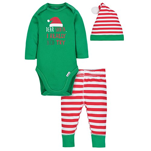 Gerber Baby Boys' 3-Piece Bodysuit, Pant and Cap Set, Santa, Newborn