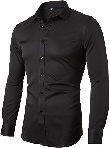 FLY HAWK Mens Fiber Casual Button Up Slim Fit Collared Formal Shirts, Black Button Down Shirt