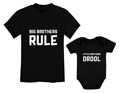 Big Brothers Rule Little Brothers Drool Boys Set Siblings Gift Shirt & Bodysuit Big Bro Black 3T / Lil Bro Black NB (0-3M)
