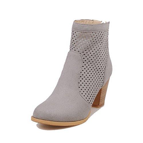 Frosted Boots High Solid Zipper Heels Gray Low AllhqFashion Womens top qtZxfTnv7