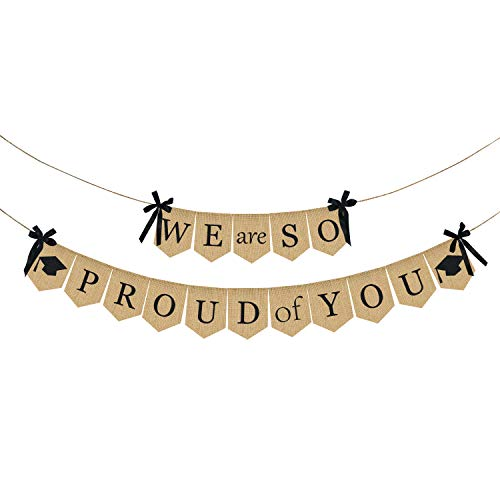 (Burlap We are So Proud of You Banner - Rustic Vintage Graduation Banner | Graduation Decorations for Graduations Party Supplies 2019 | Great for Graduation Party, Grad Party , Home Party)