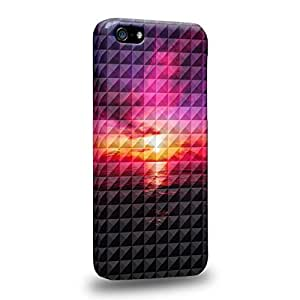 Case88 Premium Designs Art Studded Ombre Pattern Sunset Protective Snap-on Hard Back Case Cover for Apple iPhone 5c