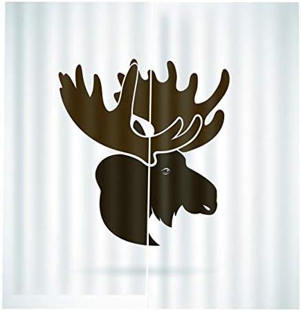QinKingstore 鹿ヘッドカーテン150 * 166クリエイティブホームインテリアベッドルームリビングルームカーテンホテル装飾カーテン