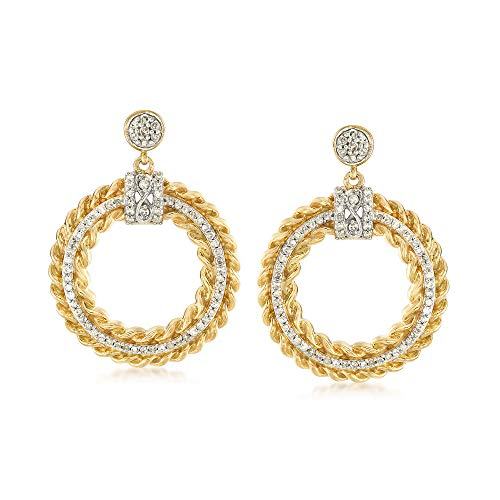Ross-Simons 0.75 ct. t.w. Diamond Circle Drop Earrings in 18kt Yellow Gold Over Sterling Silver.