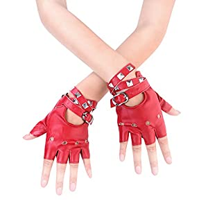 JISEN Women Punk rivets Belt Up Half Finger PU Leather Performance Gloves Red