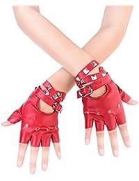 Women Punk Rivets Belt Up Half Finger PU Leather Performance Gloves