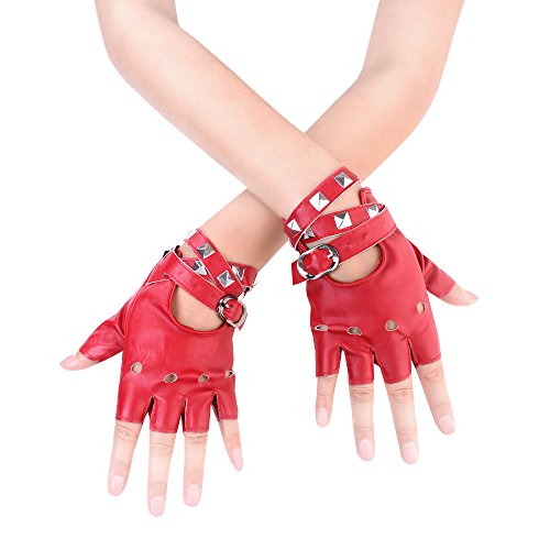 (JISEN Women Punk rivets Belt Up Half Finger PU Leather Performance Gloves Red)