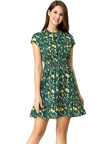 Allegra K Women's Ruffle Neck Cap Sleeves Smock Waist Lace Trim Skater Floral Dress Green M (US 10) ()