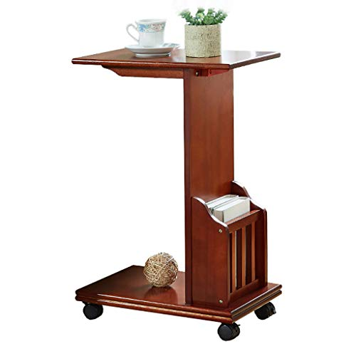 (End Table Patio Coffee Side Narrow Chair Shelf C Type Table with Storage Basket with Metal Frame with Rolling Casters Espresso for Parlor -CAIZHEN)