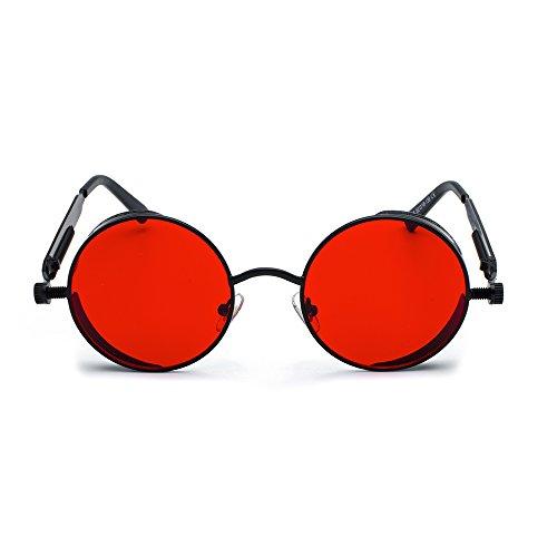 Vintage Round Sunglasses Fashion New CVOO Retro Eyewear Black Red Mirrored Steam Punk 5CwZCYq