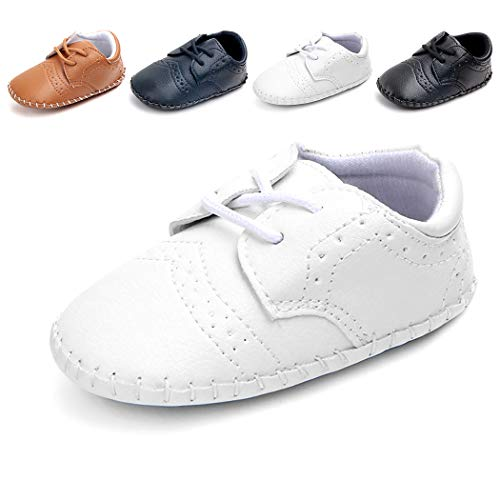Cindear Newborn Baby Boys First Walking Shoes Soft Synthetic Leather Brogue Infant Dress Crib Shoes White 6-12 -