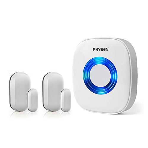 Entry Door Chimes - Physen Wireless Door/Window Sensor Chime kit with 2 Magnetic Door Sensors and 1 Remote Receiver with Operating at 600-feet Range,4 Volume Levels with 52 Melodies Chimes for Home/Office/Stores