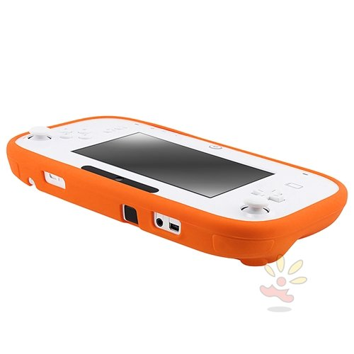 Everydaysource Compatible With Nintendo Wii U Gamepad Remote Controller Orange Full Protection Silicone Skin Back Cover Gel Case