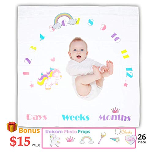 Baby Monthly Milestone Blanket - Unicorn Baby Month Blanket For Girls Bonus 26 Pc Photography Set Month To Month Baby Blanket