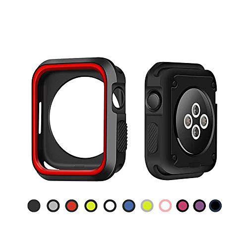 Compatible with Apple Watch Case 44mm 40mm (2018), Soft TPU Protector Case Shock Proof Bumper Cover Replacement for iWatch Series 4 (Red-Black, 44mm)