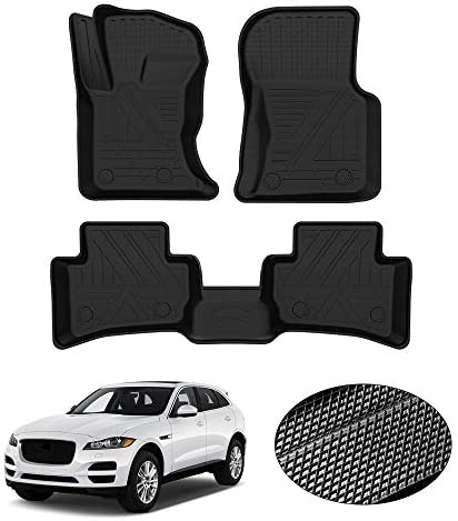 KUST All Weather Floor Mats for Jaguar F-Pace 2017 2018 2019 2020 2021 2022 F Pace Accessories Car Carpet Mats Custom Fit Floor Liner 1st & 2nd Row Liners Non-Slip Black