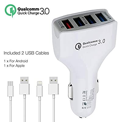 Faittoo Quick Charge 3.0 Car Charger 36W 4-Port Car Adapter, QC3.0 Compatible Galaxy S9 S8 S7 S6 Edge Note 8, iSmart Compatible iPhone Xs XR X 8 7 Plus, iPad Pro Air Mini and More(with 2 USB Cables)