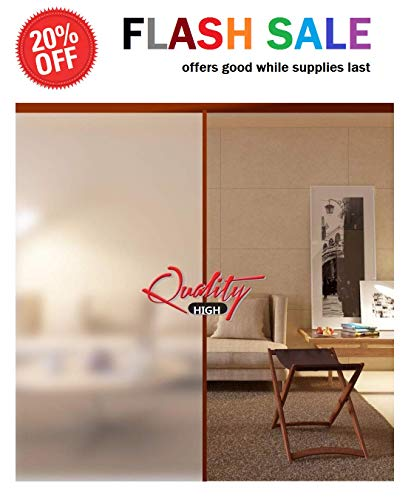 Extra Large Privacy Window Film Self-Adhesive Light Blocking Sticker Glass Film (15 FEET) Sun Screen 6 Window Coverage. Homes, Bathrooms, Offices, Living Rooms. Clear Frosted Matte, Sizes 35.4
