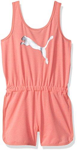 PUMA Big Girls' Cat Logo Romper, Soft Fluorescent Peach Heather, X-Large (16)