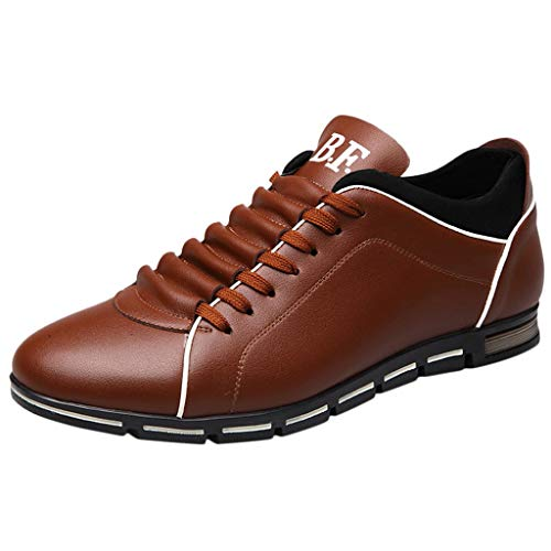 Answerl☀ Men Fashion Solid Leather Business Sport Flat Round Toe Casual Soft Shoes Walking Oxford Shoes Brown