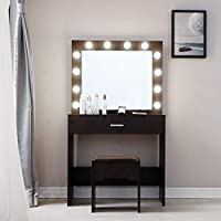 Vanity Set with Lighted Mirror, Makeup Vanity Dressing Table Dresser Desk with Mirror, 1 Sliding Drawers, 1 Cushioned Stool for Bedroom (12 Cool LED Bulbs) - Ship from The U.S.