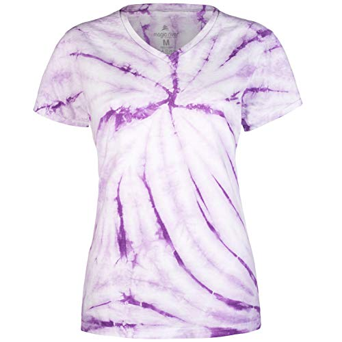 (Magic River Ladies V Neck Tie Dye T Shirts - Lavendar Cyclone - Women's XXL)