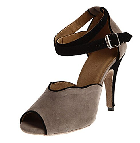 7 Miyoopark Designed Shoes Women's Inch Wedding 4 Grey Heel Dance US Latin M Suede Sandals rr7nxTW